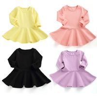 Pure color cotton kids frocks long sleeve girls dresses