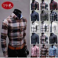 New fashion Men's shirt coloured plaid patterns men cotton shirt casual slim fit shirts me thumbnail image