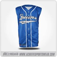 Sleeveless blue baseball jersey with 100% breathable polyester thumbnail image