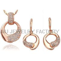 rose gold plated jewelry set, rhinestone bridal set