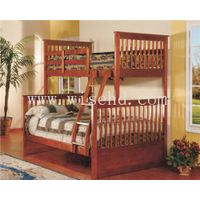 ( WJZ-B71 ) pine wood single+double bunk bed