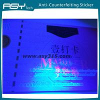 anti-forgery fluorescent Safety line customer vouchers card printing