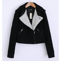 Ladies wool/polyester bike jacket with faux fur lining