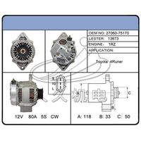 12V auto part car alternator toyota(1-1085-01ND)Denso 100211-417, 100211-686