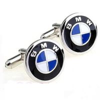 stainless steel custom cufflinks inlay enamel BMW design