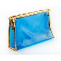 0.3mm thickness vinyl pvc zipper pouch Blue Color/pvc pouch zipper closure