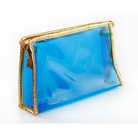 0.3mm thickness vinyl pvc zipper pouch Blue Color/pvc pouch zipper closure