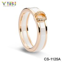Quality Nipple Ring Rose Gold Plating Ceramic Sterling Silver 925 Ring With CZ
