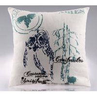 Screen postioned printed linen cushion cover CL-024