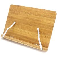 The Bamboo and wood reading book stand can hold devices and books thumbnail image