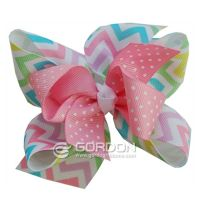 Pastel Chevron with Mini Hair Bow