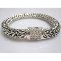 John Hardy Sterling Silver Bracelet with White Diamonds(JHB-05)