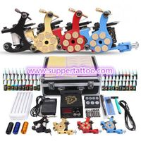 Professional Tattoo Kit 4 Machine Gun Power Supply 56 Color Inks thumbnail image