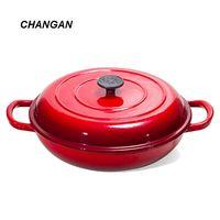 enameled cast iron casserol dish brainser pan with dual loop handle 3.75qt