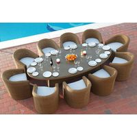 New 2017 Home & Garden Rattan Wicker Glass Dining Tables And Chairs Rattan Dining Set