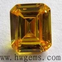 square golden yellow cz stone