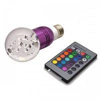 E27 1X3W Crystal Remote Control 16 colors RGB LED Light Bulb Lamp 3W AC 85-265V thumbnail image