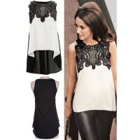 Hot Sale High Low Hem Lace Sleeveless Blouse