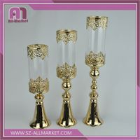 Clear Glass & Metal Candle Holder/Candlestick