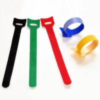 Multi-color cable tie adhesive hook and loop tapes