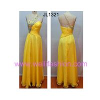 Cheap Long Beading Pleated Applique Chiffon Evening Dresses