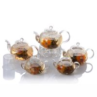 Clear Glass Teapot With Infuser and Warmer 300ml 400ml 500ml 600ml 800ml 1000ml