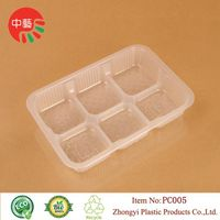 food grade plastic cooked food tray with dividers thumbnail image