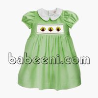 Lovely pea cock smocked dress for little princess - DR 2301