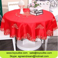 Handmade Cutwork Embroidery Red Round Table Cloths for Festival