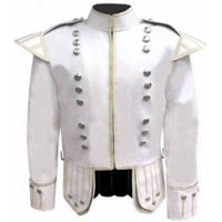 WHITE PIPE BAND DOUBLET SILVER PIPING SILVER BUTTONS