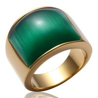 New Fashion Men's 316L Stainless Steel Big Green Onyx Band Ring Sie 7~13
