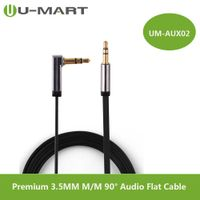 Premium 3.5MM Male to Male right angle Audio Flat Cable thumbnail image