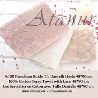 Cotton Terry Towel with Tulle Lace