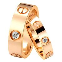 Fashion rose gold plated wedding ring inset shiny cz stone