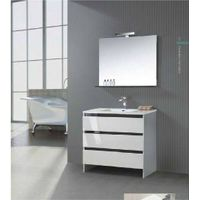 2015 hot sell white single sink curved bathroom cabinet
