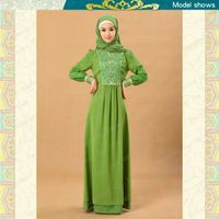 2013 Islamic clothing embroidered knitted muslim ladies abaya MF19333 thumbnail image
