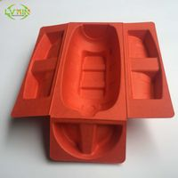 Shockproof recyclable red molded tray shipper wine sugarcane pulp packaging