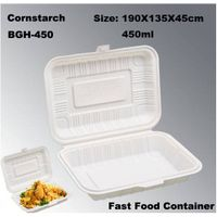 450ml Eco-friendly Disposable Corn Starch Healthy Lunch Box