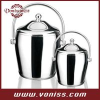 Stainless steel with a double emphasis put tambourine-shaped ice bucket 1.2L and 2.0L