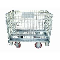 Stacking wire container with wheels hand trolley