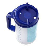 MUG, INSULATED, WITH RED HANDLE, STRAW