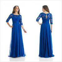 2014 Elegant Custom Made Blue Satin Chiffon Lace Beading Mother of the Bride Dresses/Evening Dress