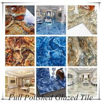 3d Inkjet Bright Color Ocean Blue Green Red Marble Granite Polished Glazed Ceramic Floor Tile 80x80