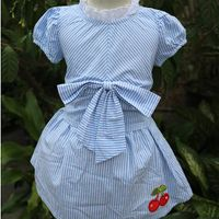 Children clothing manufacturer hot new fashion girl dress with blue bow thumbnail image
