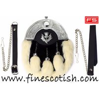 FULL DRESS KILT SPORRAN WHITE RABBIT FUR & CHROME CELTIC CANTLE WITH THISTLE