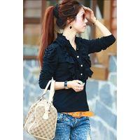 Wholesale Korean Style Beauty Design Flounce Cotton Tops,Cheap Clothes,Long Sleeved  Tee thumbnail image