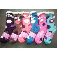 Polka Dots Fashion Home Comfort Socks Sherpa Lined Plush Socks With Pompom thumbnail image