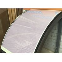 Electronic control cellular shades closed together to the bottom of the cambered surface twi-glass