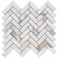 Calacatta gold herringbone tile