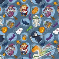 Halloween carton print in cotton lycra fabric